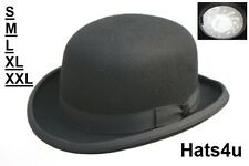 MENS BOWLER HAT BLACK 100% WOOL S M L XL XXL 56 58 59 60 61 62 64CM NEW