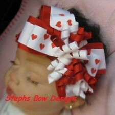 RED & WHITE HEARTS VALENTINES DAY LAYERED KORKER HAIR BOW HEADBAND SUPER CUTE
