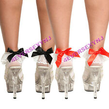 Sexy Anklet Socks with Ruffle & Satin Bow - 1 Pair, 2 Pair Choice or MORE