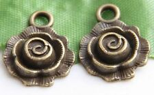 36/105Pcs Bronze Plated Flower Charms Pendants 17x14x4mm