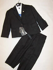 BNWT BOYS FOUR PIECE BLACK PIN STRIPE SUIT - SIZE 0 TO 16