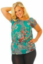 Nouvelle Womens Plus Size Pretty Floral Print Gypsy Top