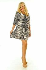New Womens Animal Print Mid Length Dress 3/4 Arms Tie Back Nouvelle Plus Size