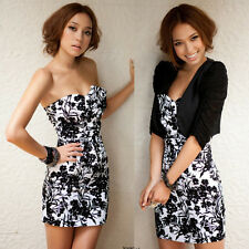 Noble New Korean Womens Sexy Strapless Colorful Mini Dress Flower Print Bowknot