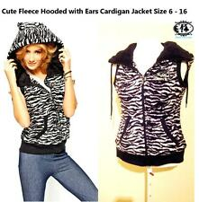 LADIES ANIMAL FACE HOOD CARDIGAN SIZE6-16 FLEECE FUR JACKET TOP HOODIE SWEATER