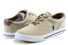 Polo Ralph Lauren Boy's Fashion Sneaker Vaughn Khaki Canvas Shoes
