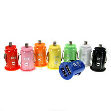 8 Color Mini Bullet 2-Port USB Car Charger Adaptor for iPhone 4 iPod S3 Note LOT