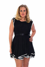 New Womens Chiffon Lined Black Evening Belt Party Frill Dress Nouvelle Plus Size