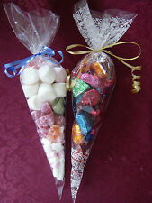 "Cone,  Cellophane clear bags 14.5"" x 7"", ideal party sweet bags, FREE RIBBON"