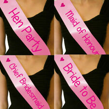 CHEAP HEN PARTY NIGHT DO SASHES SASH BRIDE TO BE CHIEF BRIDESMAID PINK ON PINK
