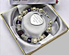 Personalised Engraved Daughter Cube Bead Bracelet With Free Box and Gift Card