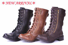 FMJ Shoes DMS Fashion Knight Military Two Zipper Lace Up Mid Calf Buckles Boots