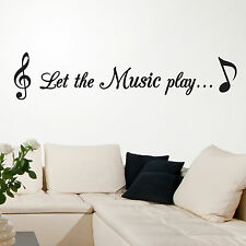 MUSIC, LARGE WALL STICKER, Notes, Quote, Play, Songs, Decal, WallArt, SS318