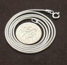 1.2mm Solid Flexible Snake Chain Necklace Real 925 Sterling Silver FREE SHIPPING