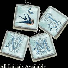"Blue Birds Swallows Crown Initial Letter Necklace 1"" Soldered Pendant/Charm CSI2"