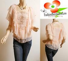 Victorian Faux Silk Chiffon Sheer Bead Embroidery Ruffle Peasant Blouse Top PCH