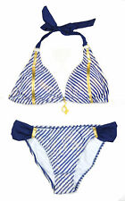 Baby Phat Womens White & Navy Striped 2pc Padded Swim Suit Size S M L XL $68