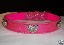 Dog Pet Collar Crystal Bling Hearts & Buckle Ice Cream Pink in XS S M L