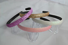 Fancy Glittery Headbands Assorted Colours Pink Purple Gold White Alicebands