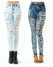 NWT HIGH WAIST DESTROYED MULTI RIP SHREDDED ACID MINERAL SKINNY DENIM JEANS PANT