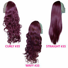 Ladies 3/4 WIG Half Fall Clip In Hair Piece Rich Wine #35 Sexy Style