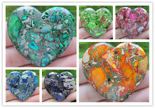 DHSXX Beautiful Sea Sediment Jasper&Pyrite Heart pendant bead