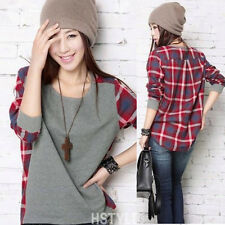 Women Korean Plaid Patchwork Faux Twinset Long Sleeve Round Neck Loose T-shirt