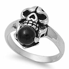 skull black onyx ball sterling silver gothic biker ring size 5 6 7 8 9 10 11 12