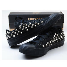 Custom made Genuine Black Low Converse Silver Spike Stud Punk Fashion Sneakers