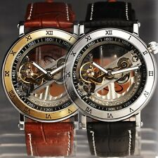 NEW FANCY LUXE Men Auto Mechanical Inclined Bridge Double Skeleton Dial Leather