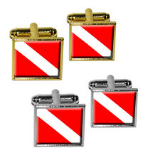 Scuba Diver Flag - Diving Square Cufflink Set