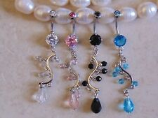 Prong Set Cubic Zirconia with Faceted Beads Vine Dangle Navel/Belly Ring.