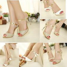 LADIES WOMENS HIGH MID HEEL PEEP TOE SHOES SANDAL PARTY CASUAL ANKLE STRAP US5-8