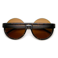 Oversize High Fashion Mod Round Circle Half Frame Sunglasses 8786
