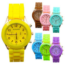 WOMENS MEN COUPLE SILICONE GENEVA JELLY GEL QUARTZ SPORTS ANALOG WRIST WATCH