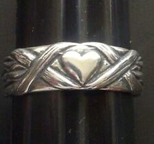 .925 Sterling Silver Hearts and Leaves Love Ring Band Ring No Stone