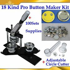 ASC365 Pro N4 Badge Button Maker Machine+Adjust Circle Cutter+100 Pin Back Parts