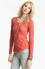 NWT Free People Shell Stitch Lace Henley Tee Shirt Sour Cherr