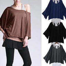 Women's Fashion Twinset Casual Loose Batwing Sleeve T-shirt Vogue Tank Top Vest
