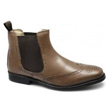 Roamers Mens Leather Twin Gusset Brogue Padded Formal Chelsea Boots Tan Brown