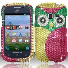 GREEN OWL BLING DIAMOND HARD CASE FOR SAMSUNG GALAXY CENTURA S738C +FREE STYLUS