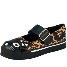 T.U.K. Kitty Cat Face & Tail With Bow Leopard Print Mary Jane Sneaker Flat Shoes
