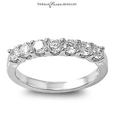 wedding anniversary cz sterling silver band womens ring size 5 6 7 8 9 10 ladies