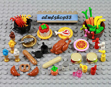 LEGO - 43 pcs Lot Picnic BBQ Bread Pretzel Hamburger Turkey Minifigure Food