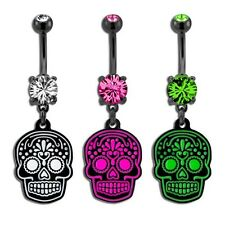 Black PVD Coated Sugar Skull Belly/Navel Ring.