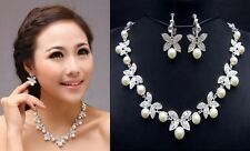WBN131 Crystal Rhinestone Shell Pearl Necklace Earrings Bridal Bridesmaid Prom