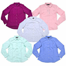 Tommy Hilfiger Oxford Shirt Womens Classic Fit Long Sleeve Solid Button Down Top