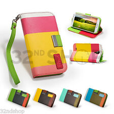 WALLET LEATHER CASE COVER FOR SAMSUNG GALAXY S4 Mini i9190 SCREEN Protector