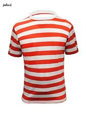 NEW LADIES SHORT SLEEVE TOP RED AND WHITE STRIPED STRIPY FANCY DRESS T-SHIRT