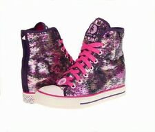 DADDY'S MONEY Secret Wedge Gimme After Party Pink Purple Sequins Hi-Top Shoes